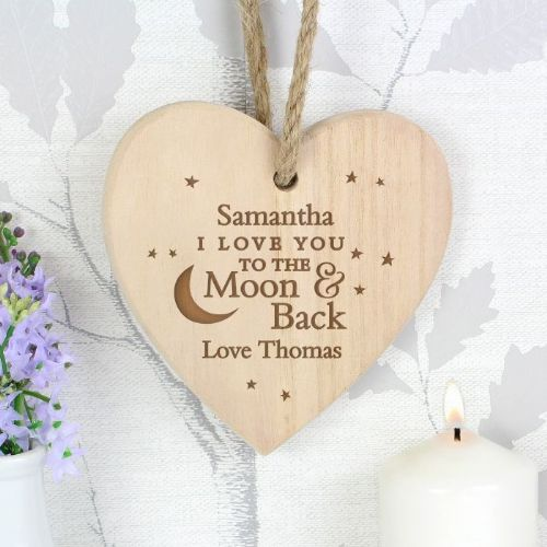 Personalised To the Moon and Back Chunky Wooden Heart Decoration